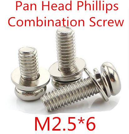 500pcs/lot M2.5*6 Phillips Pan Head  Three Combination Screw Three sem screws with washer attached steel with nickel triad screw<br><br>Aliexpress