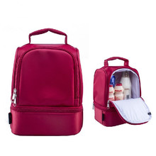 Nuovo design scatole di pranzo al sacco in nylon spessore caldo thermal insulated  Rosso sacchetti pranzo tote bag con cerniera cooler lunch box di isolamento  Borsa(China (Mainland))