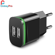 Buy CinkeyPro USB Charger iPhone 5 6 iPad Samsung LED Light 2 Ports 5V 2A Wall Adapter EU Plug Mobile Phone Micro Charging Data for $2.21 in AliExpress store