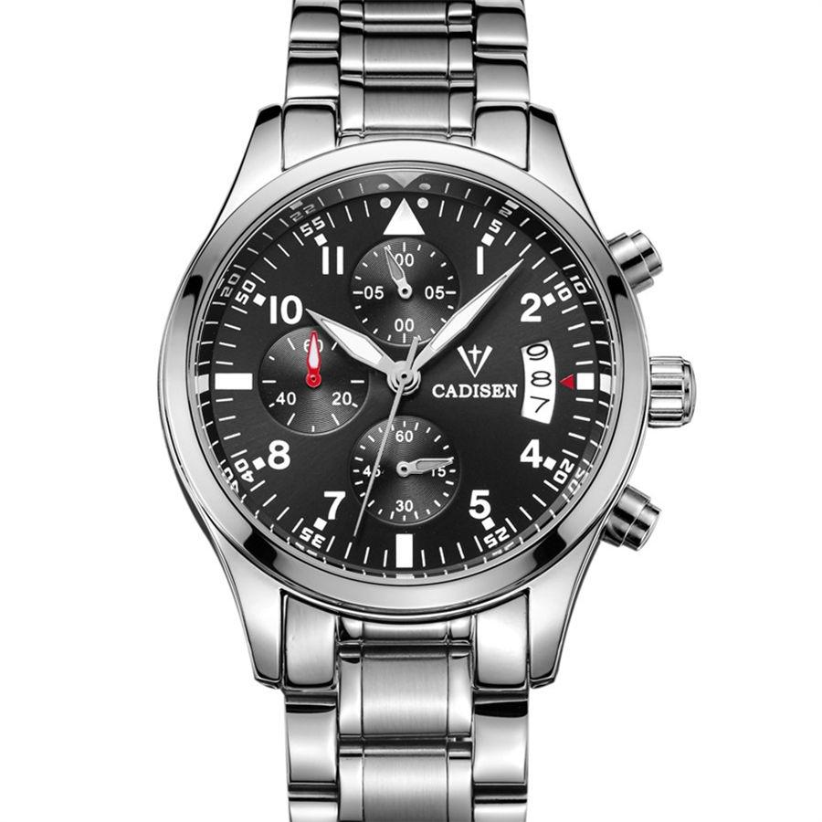 Cadisen japan movt quartz watch stainless steel back Multifunction Calendar Watch Men(China (Mainland))