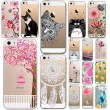 Телефон чехол для iphone 5 5S мягкие TPU роскошные животные фрукты девушки кошка рисунок прозрачный ультратонкий задняя крышка