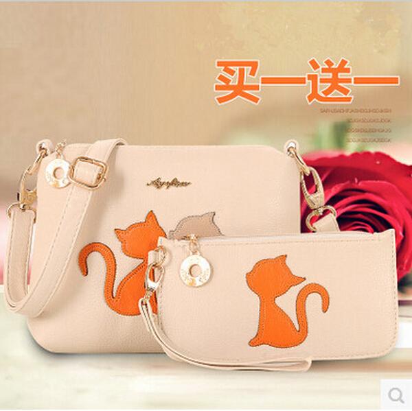 2015 Women's Shoulder Bags PU leather handbag Crossbody Bag Wallets Preppy Hit Color Cat Tote Women Messenger Bag bolsa feminina(China (Mainland))