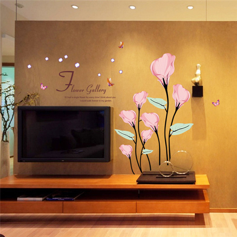 new creative home decoration horse cry lotus flowers living room bedroom wall stickers waterproof removable home decor
