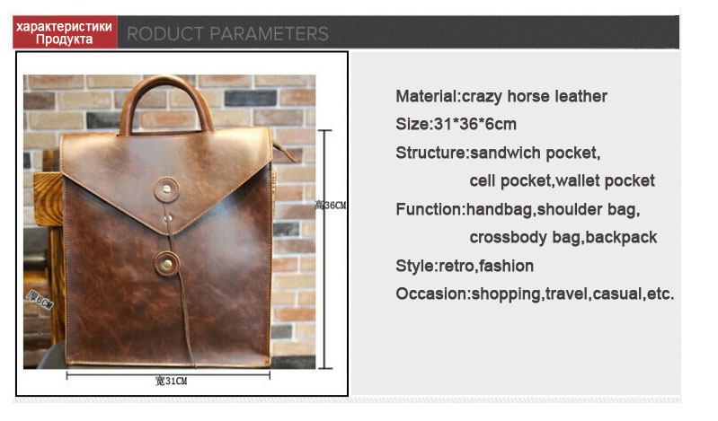 Genuine Leather Bag Men Backpack