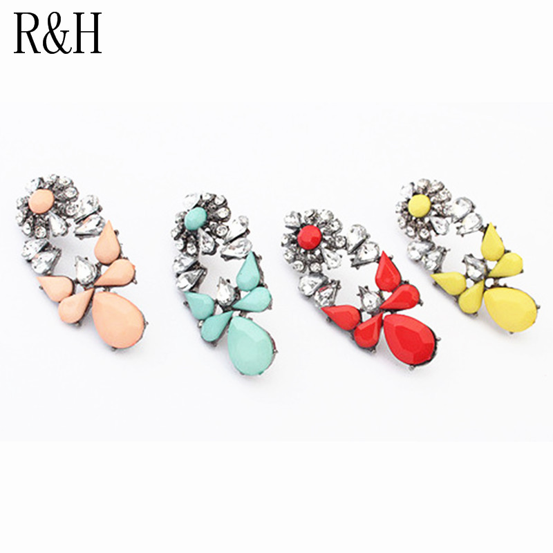 E124 Vintage Stud Earrings pink/Yellow/red/blue Crystal Pearl Earrings for Women Christmas Gift Fashion earrings Factory Price(China (Mainland))