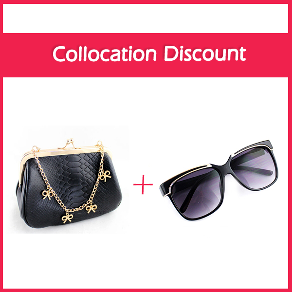 Buy One Get One Free Handbags Designers Brand Bowknot Chain Shoulder PU Leather Women Bag(China (Mainland))