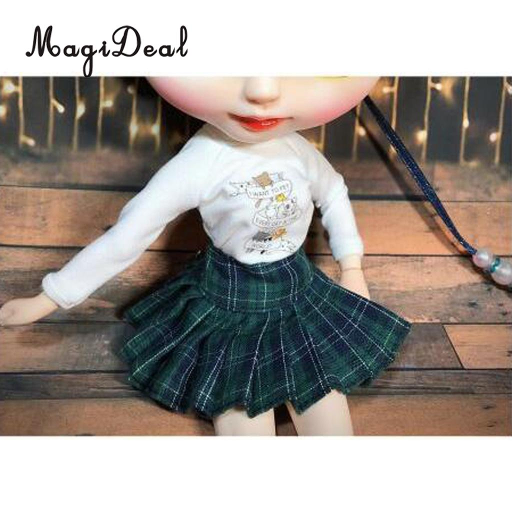 Classic School Style Plaid Pleated Skirt Dress for 12 Inch Licca Pullip Dolls Clothes Accessory Children Girls Gift 4Colors