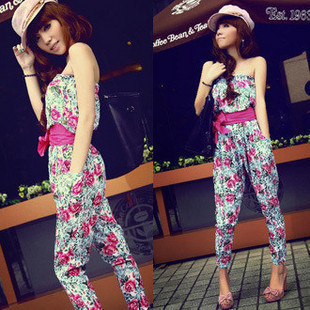 2012 summer high waist artificial cotton print tube top tube top jumpsuit harem pants free shipping dropshipping