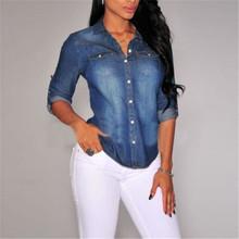 2016 Hot Women Long Sleeve Lapel Button Down Jean Shirt Pocket Slim Top Blouse Denim Coat ZT1