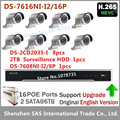 Hikvision NVR DS 7616NI I2 16P 16CH 16 POE ports 2TB HDD 8pcs Hikvision DS 2CD2035