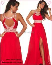 Heißer Verkauf auf Lager lange Elegante Sexy rot prom Kleider 2015 Party Kleider Vestidos De Festa bodenlangen Chiffon Perlen Pageant Schlitz(China (Mainland))