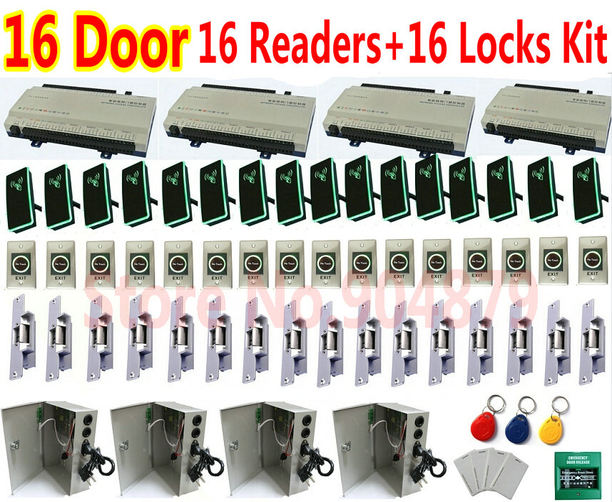 16 Doors Web Control Whole Kit +16 Strike Locks Door Access Controller Panel+16pc RFID Card Readers+16pcs Exit butto+1 software(China (Mainland))