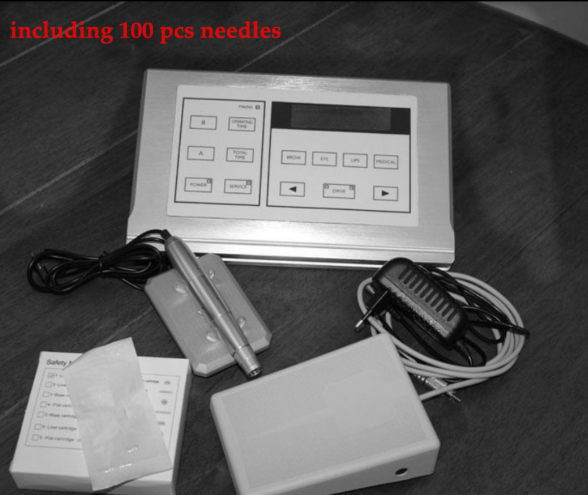 Permanent Makeup Cosmetic Tattoo Machine Kits Power Supply Adapter Supply+100pcs free needles(China (Mainland))