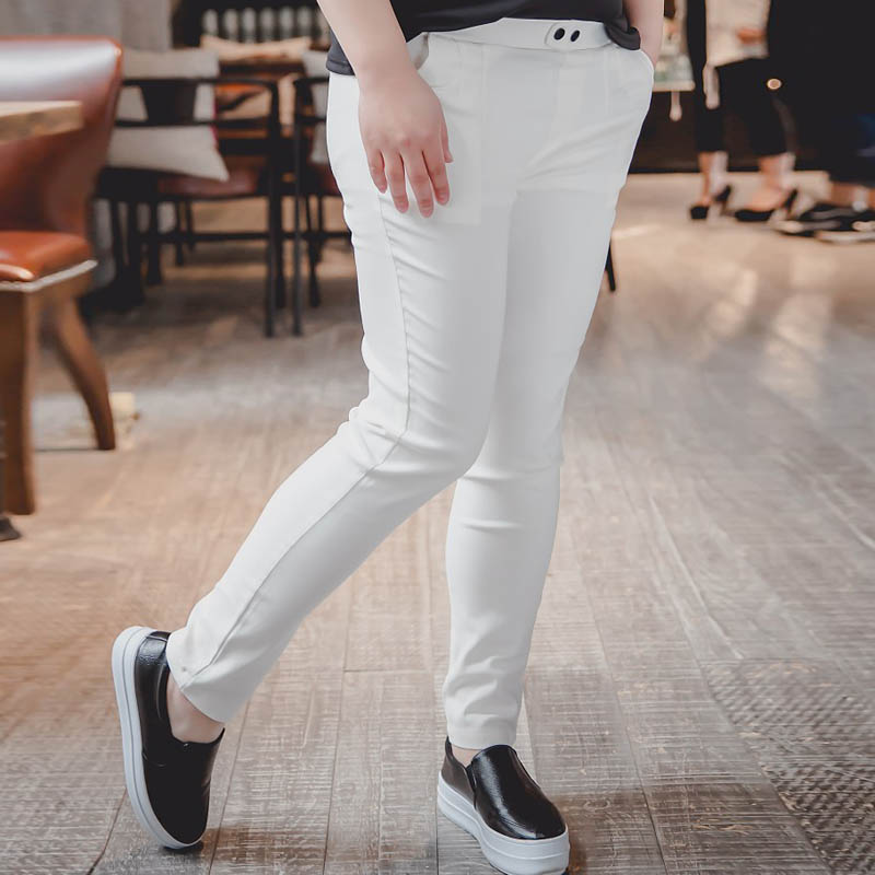 2016 Summer Style Women's Pants Capris Plus Size 3XL Casual Slim Skinny Pencil Pants Black White TY009(China (Mainland))