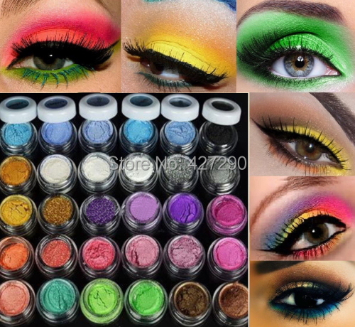 Colorful 30 Colors Eye Shadow Powder Makeup Mineral Eyeshadow + brush Pigment(China (Mainland))