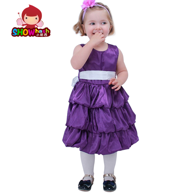 RUSSIA girls dress for birthday party princess girl dresses with bowknot dress purple beige pink rose colors 2 3 4 5 6 7 years(China (Mainland))