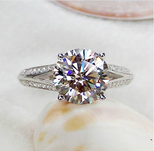 3Ct Genuine White Gold Four Prongs Two Arms Graceful CHARLES&COLVARD Moissanite Wedding Ring Solid Gold Ring For Female With Box(China (Mainland))