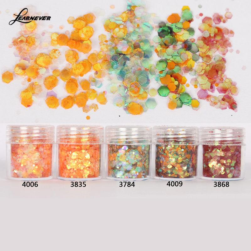 10ml/Box Nail Art Glitter Tips Orange Red Mixed Sequins Powder Decoration M02875(China (Mainland))