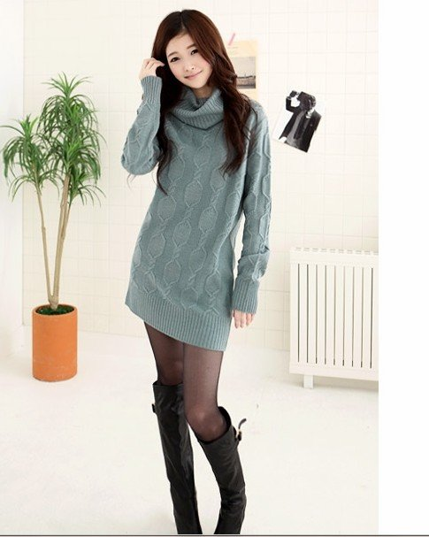 2012 New Korea Women's Fashion Knitting Stripe Sweater Slim Long Knitwear V-Neck Unisize Color(China (Mainland))