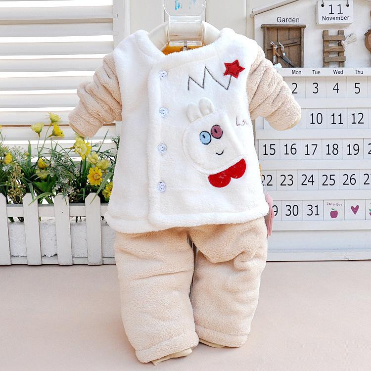 2015 Hot New winter children's underwear Coral cashmere cardigan coat children piece two-piece baby clothing set(China (Mainland))