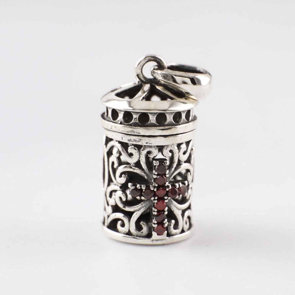 Sterling Silver Retro Red Crystal Cross Prayer Box Charm Pendant Locket A2327(China (Mainland))