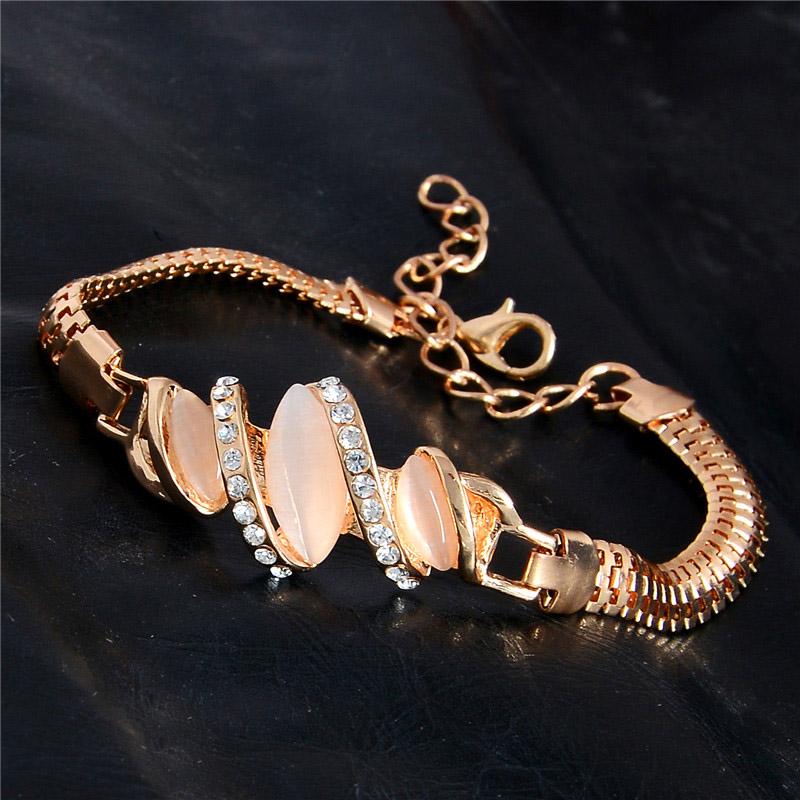 Women Jewelry Opal Crystal Bracelets Gold Plated /Rhinestone Chain Belt Bangle Bracelet Gold Plated(China (Mainland))