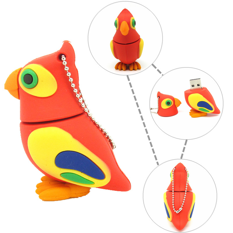 cute Parrot pen drive cartoon bird usb flash drive 32gb 16gb 8gb 4gb flash memory stick animal pendrive USB2.0 real capacity(China (Mainland))
