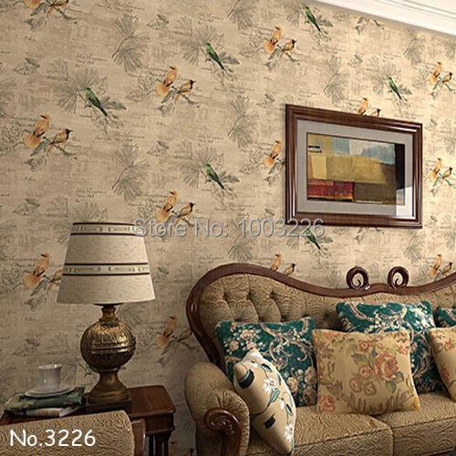 Vintage Rustic American Bird 3D Wallpaper Imported Photo Wall Paper Waterproof Living Room Wall Decor Paper .papel de parede 3D.(China (Mainland))