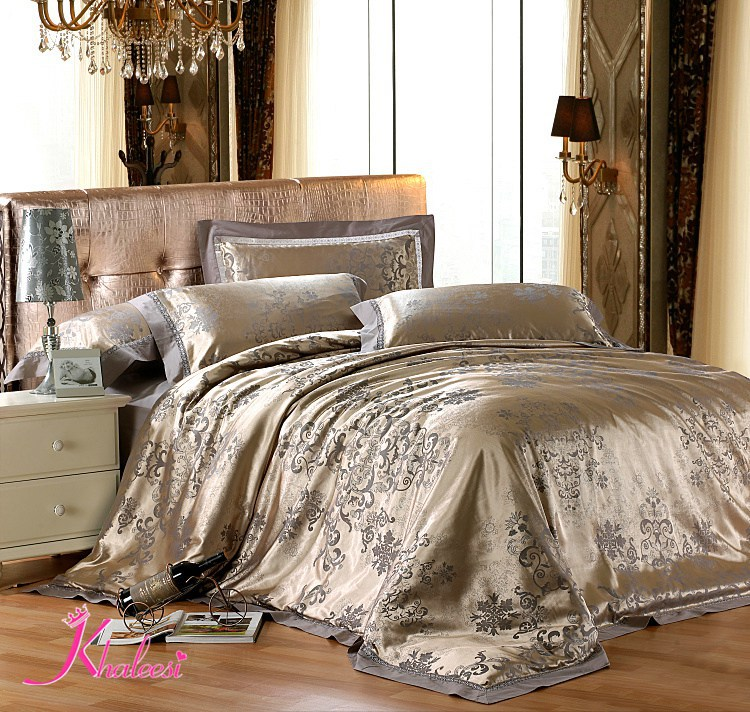 Jacquard Luxury Bed Linen Tribute Silk Satin 4pcs Cotton
