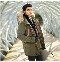 2016 winter men's thick down jacket korea slim men down jacket fashion lovers fur hat parkas men and women down jacket