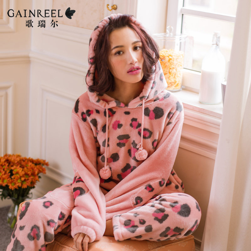 On the new song Riel winter fashion hooded flannel pajamas can Waichuan Ms tracksuit suit main