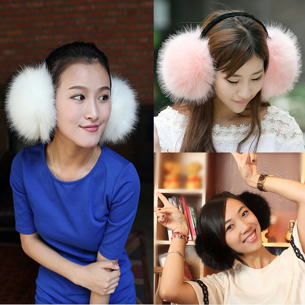 New Ladies Women Luxury cute Faux fox fur Earmuffs Winter Ski Ear Muffs Ear warmers Hat Earmuffs 96142-96144(China (Mainland))