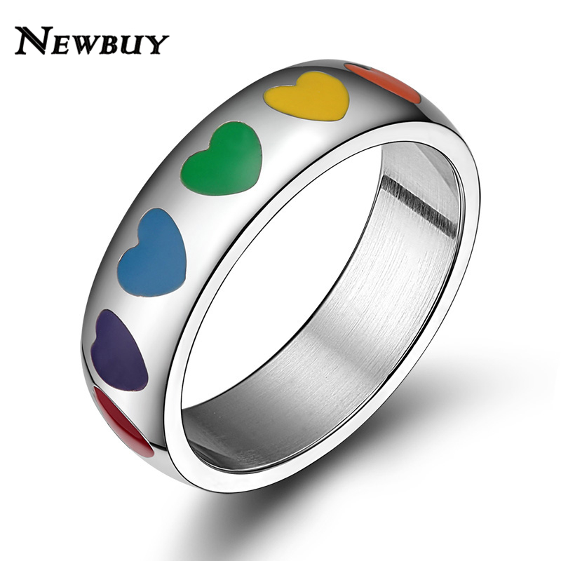 newbuy fashion colourful hearts ring for women stainless steel rainbow wedding bands rings for gay lesbian fine female jewelry - Heart Wedding Rings