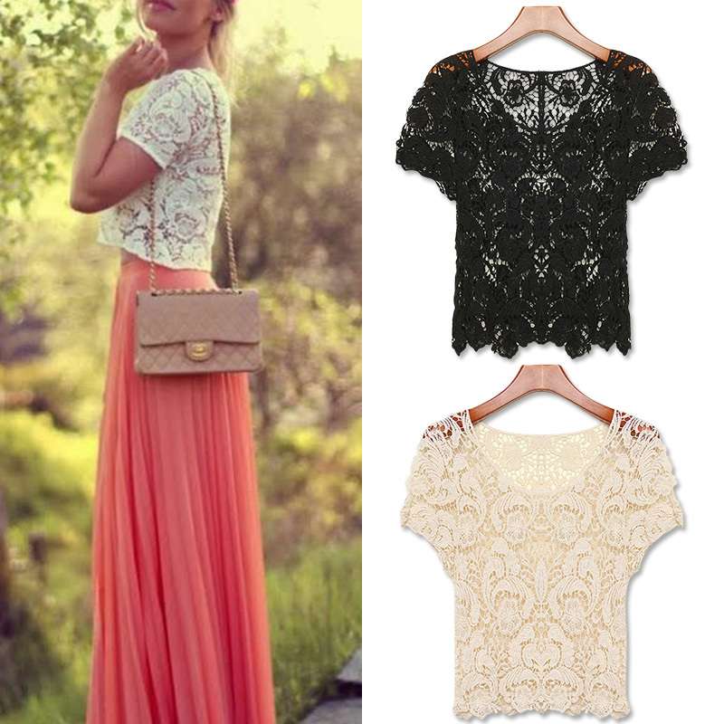 FanShou Free Shipping New 2014 Spring Summer Women Blouses Hollow Out Casual Lace Shirts Floral Crochet White Lace Tops Blusas(China (Mainland))