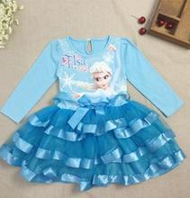 2016 Fashion Spring / summer Baby Children kids clothing mini dress red blue pink 1pcs Queen Essar(China (Mainland))