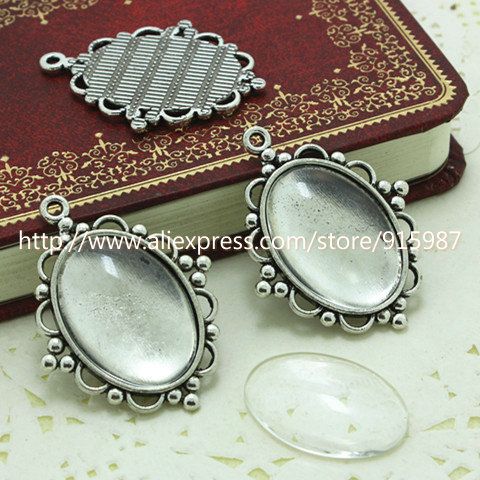 (10 set/lot) Antique Silver Metal Alloy Cameo Flower 18*25mm Oval Pendant Cabochon Settings + Clear Glass Cabochons D003(China (Mainland))