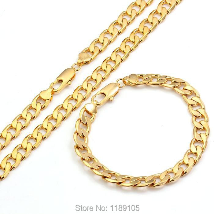 ITALIAN Real 18k/18ct yellow gold GF men's necklace+bracelet sets Solid link Chain fashion jewelry 60cm wide 8mm(China (Mainland))