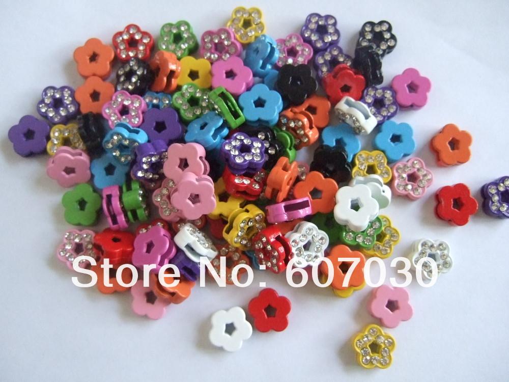 100pcs Mixed Color Rhinestone Flower Slide Bead Charms for 8mm Bracelet Belt Band(China (Mainland))