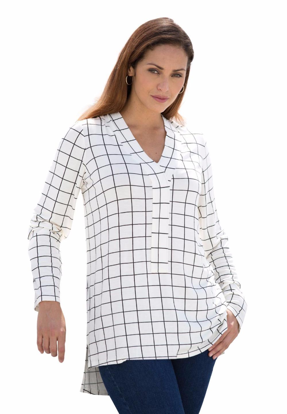 L 10xl large size women plaid hi low tunic long sleeve for Oversized plaid shirt womens