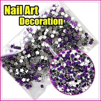 Best Selling Freeshipping 3mm 1000pcs/set Hot Purple flowers decoration wheel Nail Art gift C268