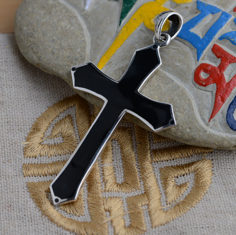 [silver] King Deer S925 silver paint oil wholesale Antique Style Silver Cross Pendant(China (Mainland))