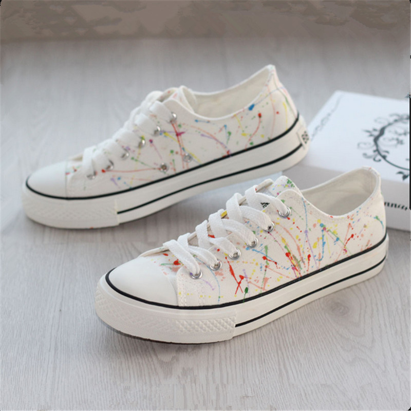 Canvas shoes hand-painted splash-ink women's low lacing lovers single doodle casual