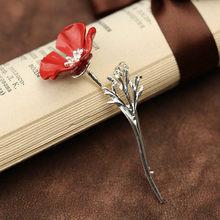 Wanita Pria Enamel Bros Bunga Merah Kerah Pin Bros Pin Hadiah Perhiasan Kerah Pin Lencana Aksesoris Perhiasan Kristal(China)