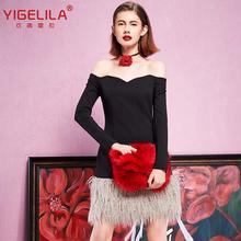 YIGELILA 61241 Latest Winter New Women Sexy Slash Neck Patchwork Fur Tassel Black Dress(China (Mainland))