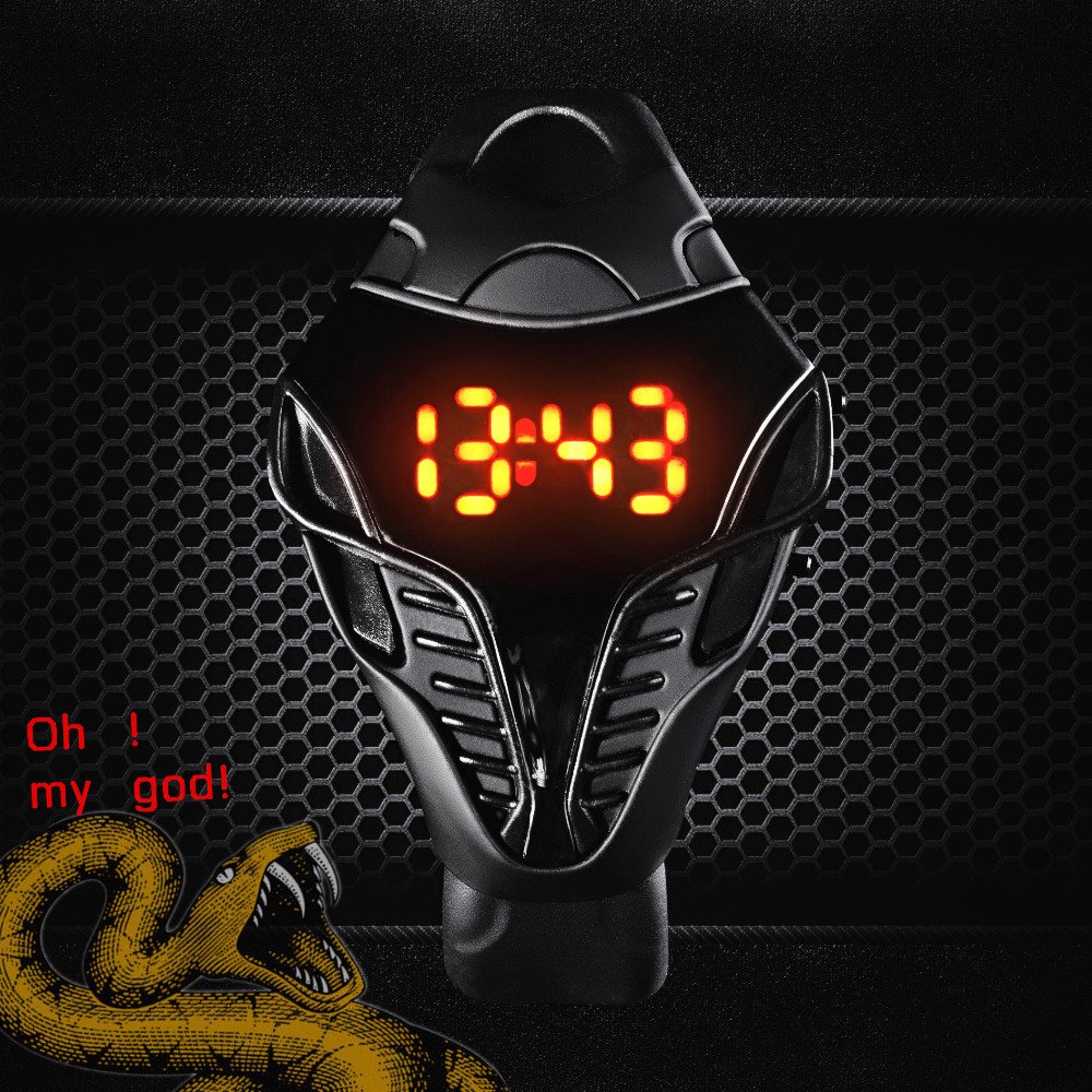 New! Hot Sale!!! LED Watch Digital Fashion Cobra Men's Watches black & white Silicone Iron Man Triangle Dial Sports Wristwatches(China (Mainland))