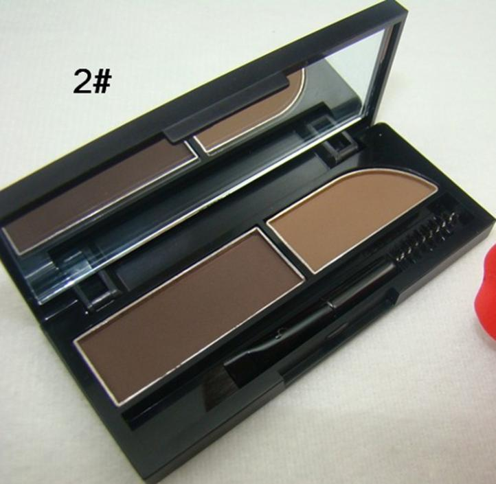 Waterproof 2 double color make up eyebrow enhancers shadow eyebrow powder Palette With Brush(China (Mainland))