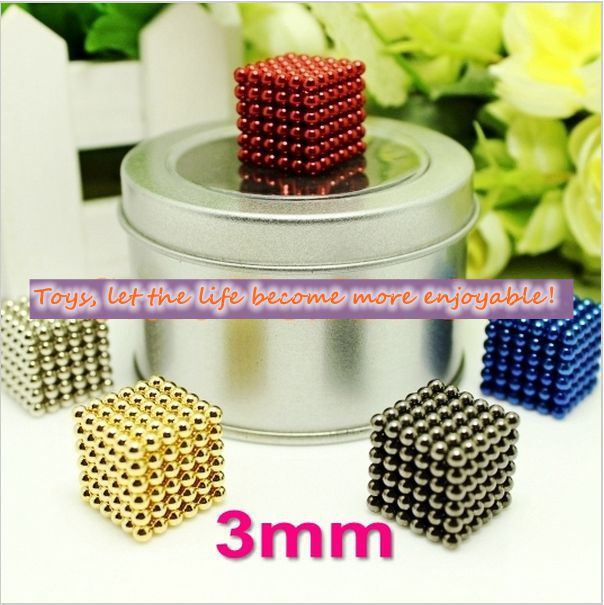 216 pcs Diameter 3mm multicolor The Neocube Toy Neo Cubes Puzzle Cube Toy Sphere Magnet Magnetic Bucky Balls with Metal box(China (Mainland))