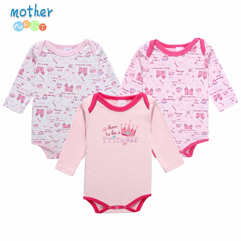 Mother Nest 3 PcsLot Baby Romper Infant Romper Long Sleeve Jumpsuit Romper 12 Colors Brand Baby Girl Boy Clothing Christmas