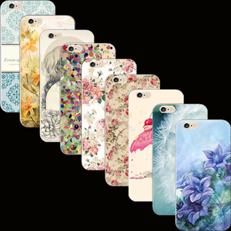 Popular Best Painted Flowers Silicon Cover Case For Apple iPhone 4 iPhone 4S iPhone4S Cases Phone Shell 2017 Pretty Newest Best(China (Mainland))