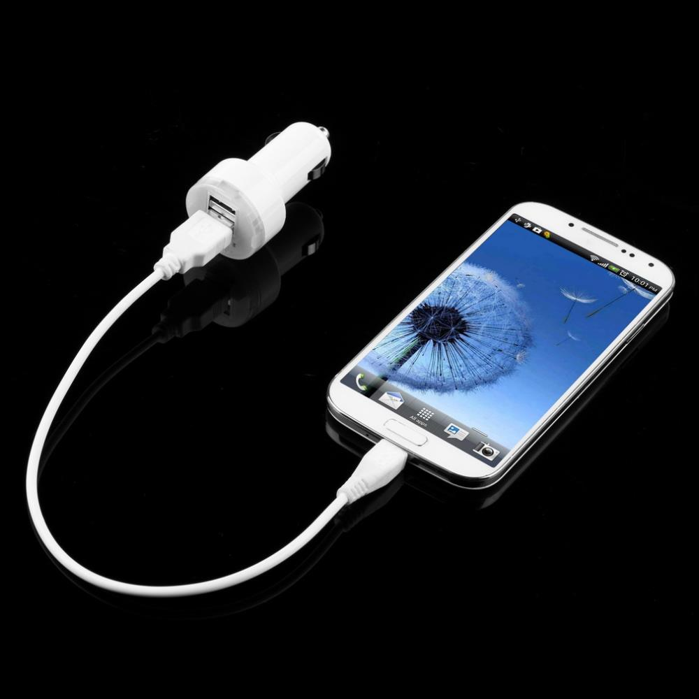1pcs White usb 2 Port Universal Adapter for iPad 2 for Samsung P1000 Mini USB Car Charger Free / Drop Shipping(China (Mainland))
